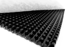 High flow cuspated HDPE drainage core bonded to two non woven geotextiles