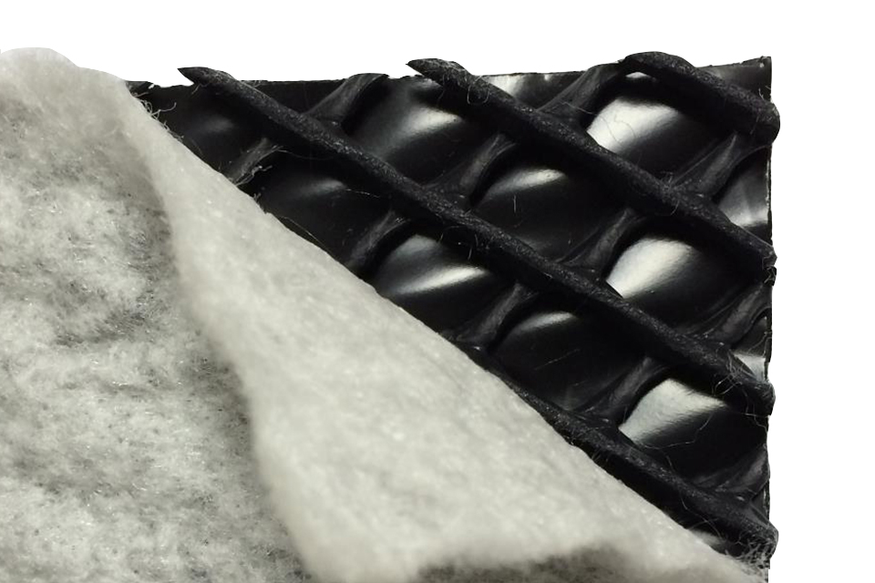 HDPE geonet with one nonwoven geotextile and a waterproofing membrane