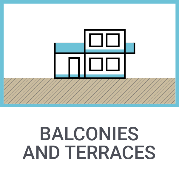 Balconies and terraces