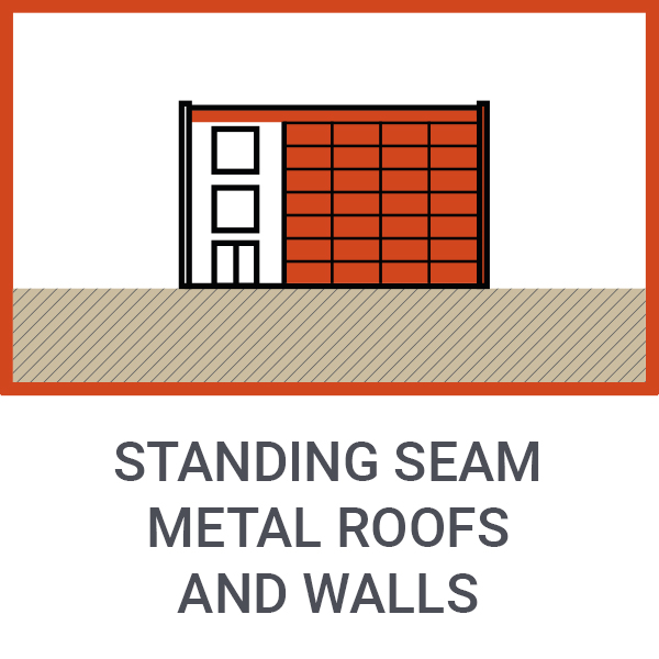 Standing seam metal roofs and walls